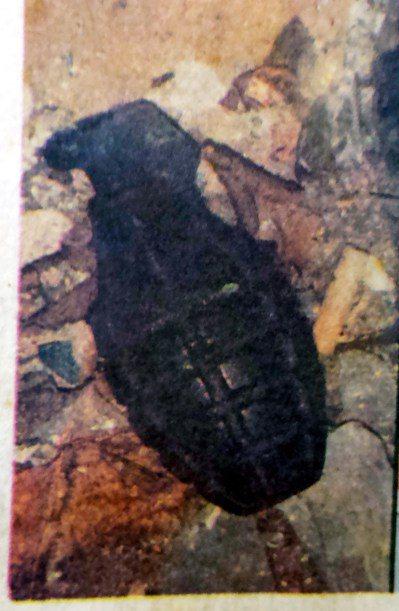 許俊賢丟向警方的第二顆手榴彈,幸未炸開。 圖/史三村提供