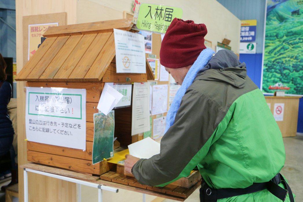 抵達1,600公尺纜車站須填寫入林登記。記者沈佩臻/攝影