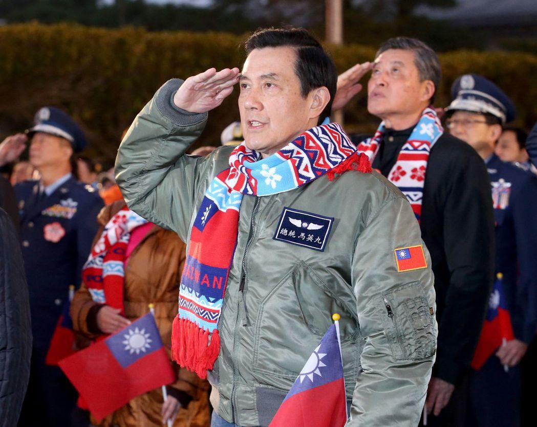 馬英九前總統穿著美國廠商生產的商規CWU-45P外套。 報系資料照