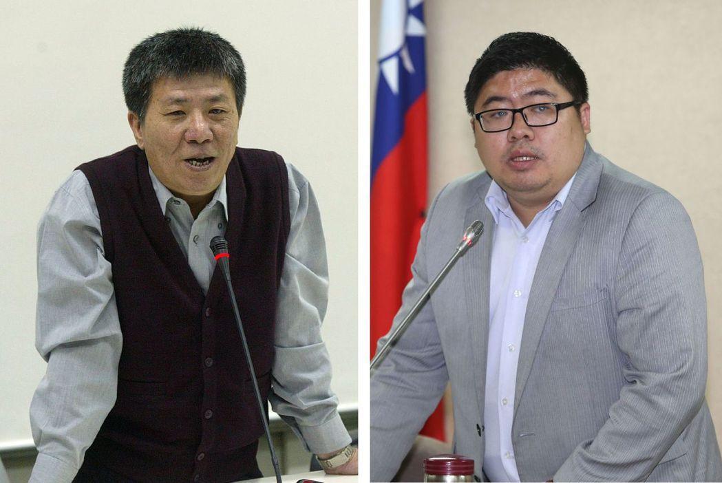 蔡易餘(右)跟隨父親蔡啟芳的腳步成為民進黨立委。報系資料照