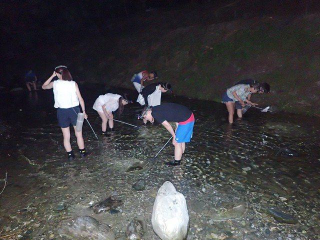 花蓮溯溪業者在晚間推出抓蝦體驗。 圖/溯溪王提供
