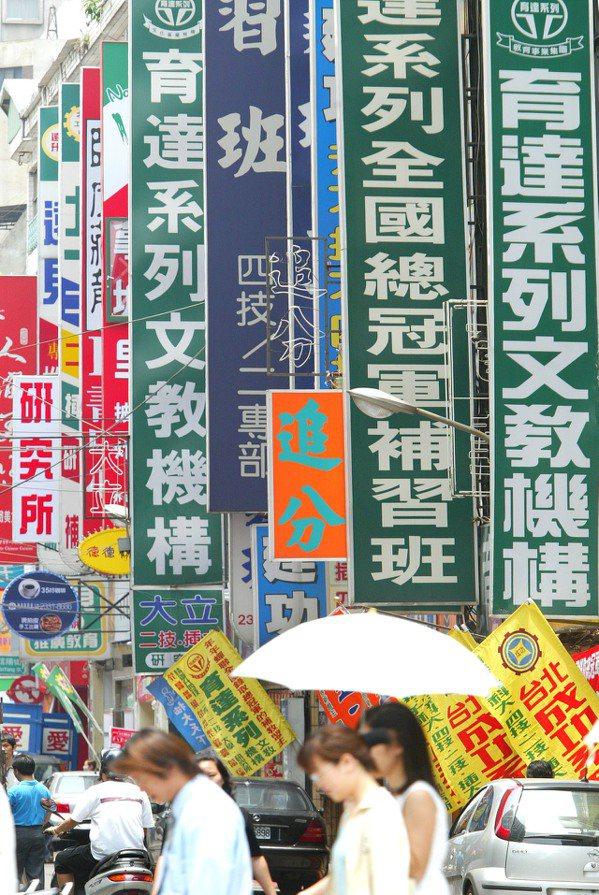 2004年的南陽街,滿是補習班招牌。 圖/報系資料照