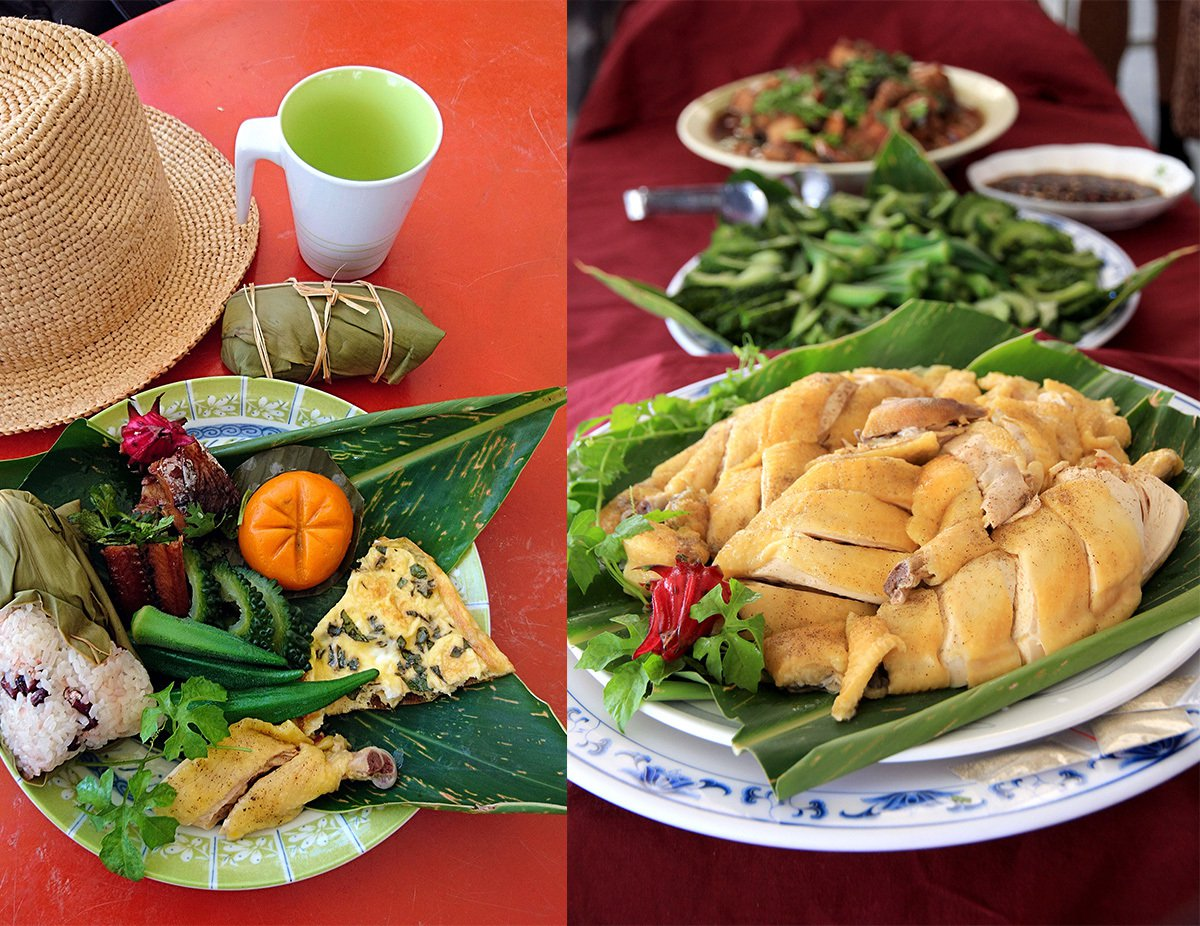 南竹湖部落媽媽以在地食材製作的米粽、刺蔥煎蛋、飛魚料理,色香味俱全;部落的放山雞...