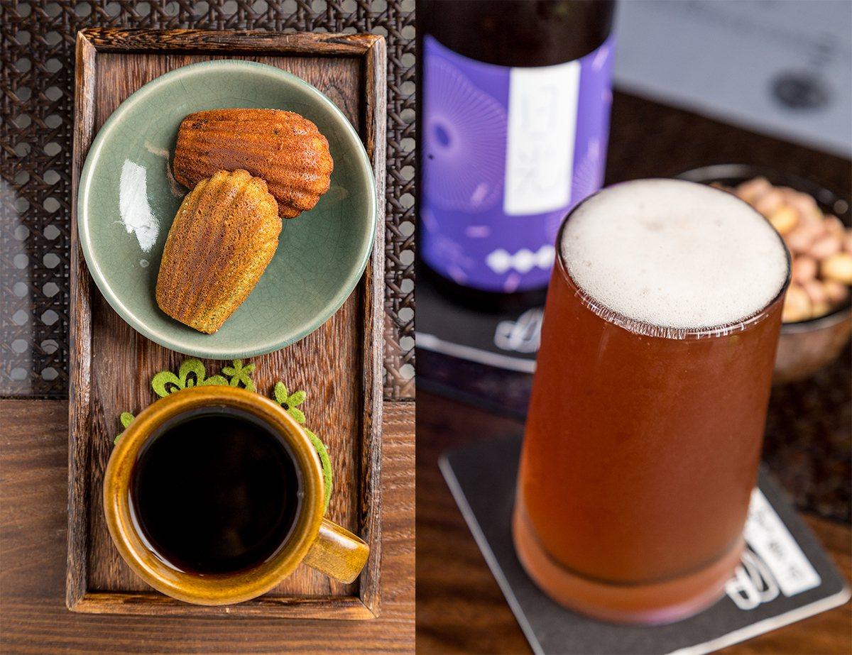 可任搭精美點心的手沖單品咖啡、專為雲門釀製的日光紫米啤酒(飲酒過量,有害健康)