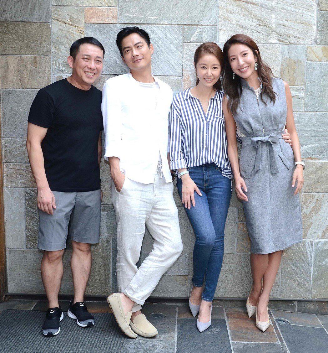 屈中恆(左起)、高聖遠、林心如、楊謹華在「我的男孩」劇組過父親節。圖/八大提供