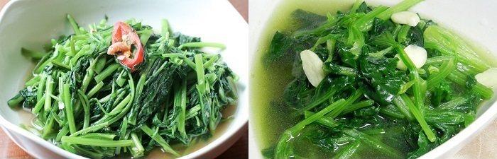 左/空心菜,右/菠菜