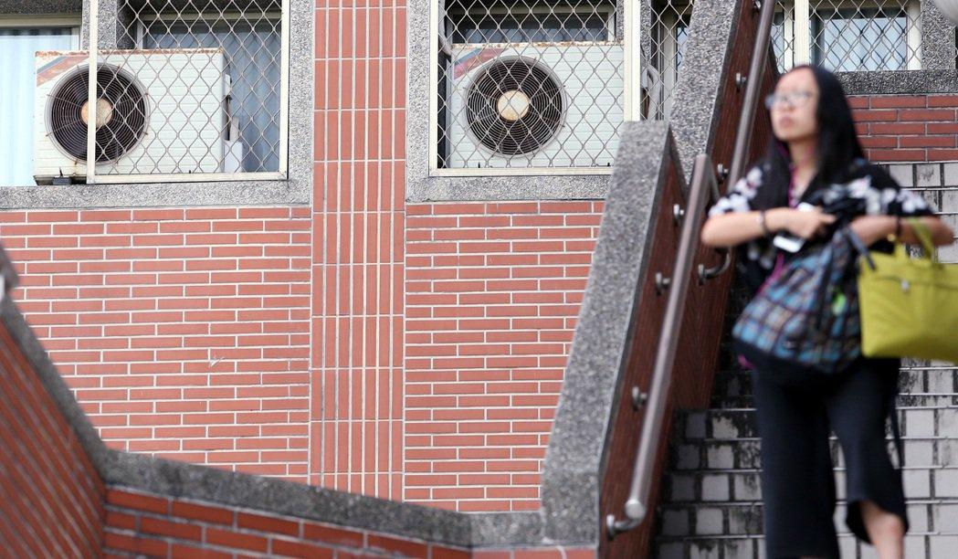 圖為外牆掛滿分離式冷氣主機的學校一隅。聯合報系資料照/記者侯永全攝影
