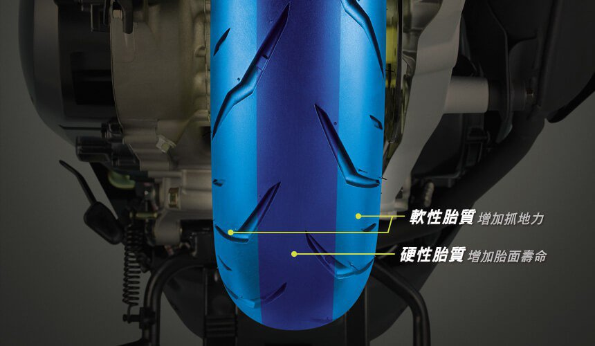 雙碟版搭載馬吉斯雙膠料輪胎。圖/SYM提供
