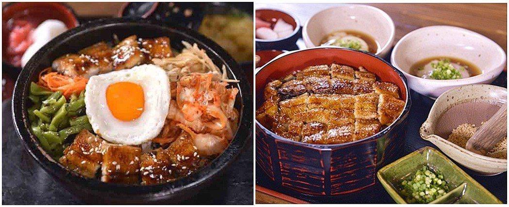 ▲蒲燒鰻魚石鍋拌飯$450元、鰻魚桶三吃$690(雙人)