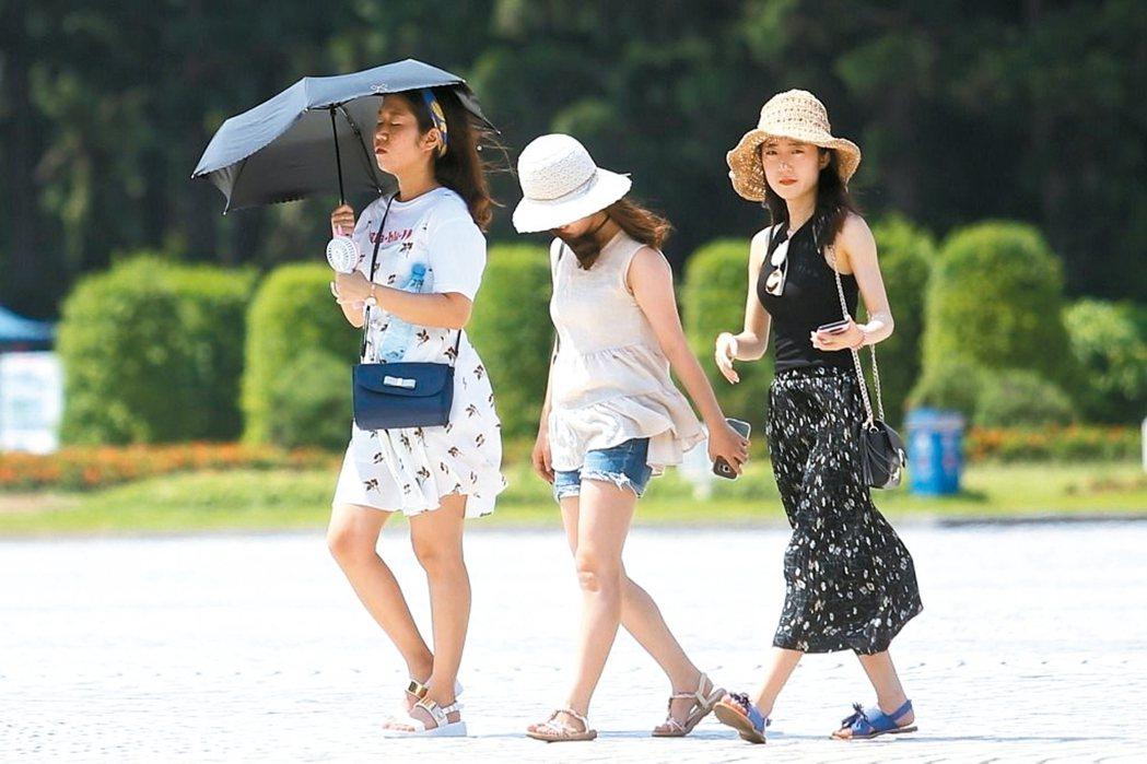 夏日氣溫升高,民眾外出應做好防曬,預防中暑。 圖/聯合報系資料照