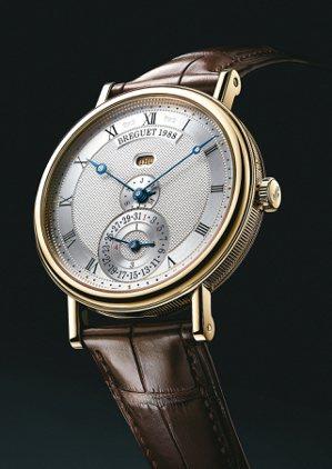 寶璣經典系列直線排列設計萬年曆自動腕表,全球僅一只。 圖/Breguet提供