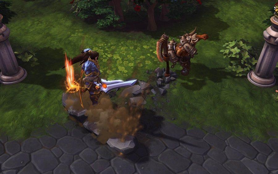 「破地斬」向地面揮擊斧頭,並對攻擊範圍內的敵人造成傷害。