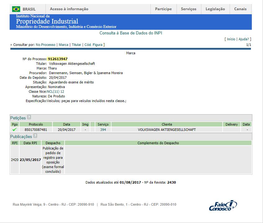 Volkswagen已經向巴西國家工業產權局註冊了Tharu的名稱。圖/摘自autopapo.com.br