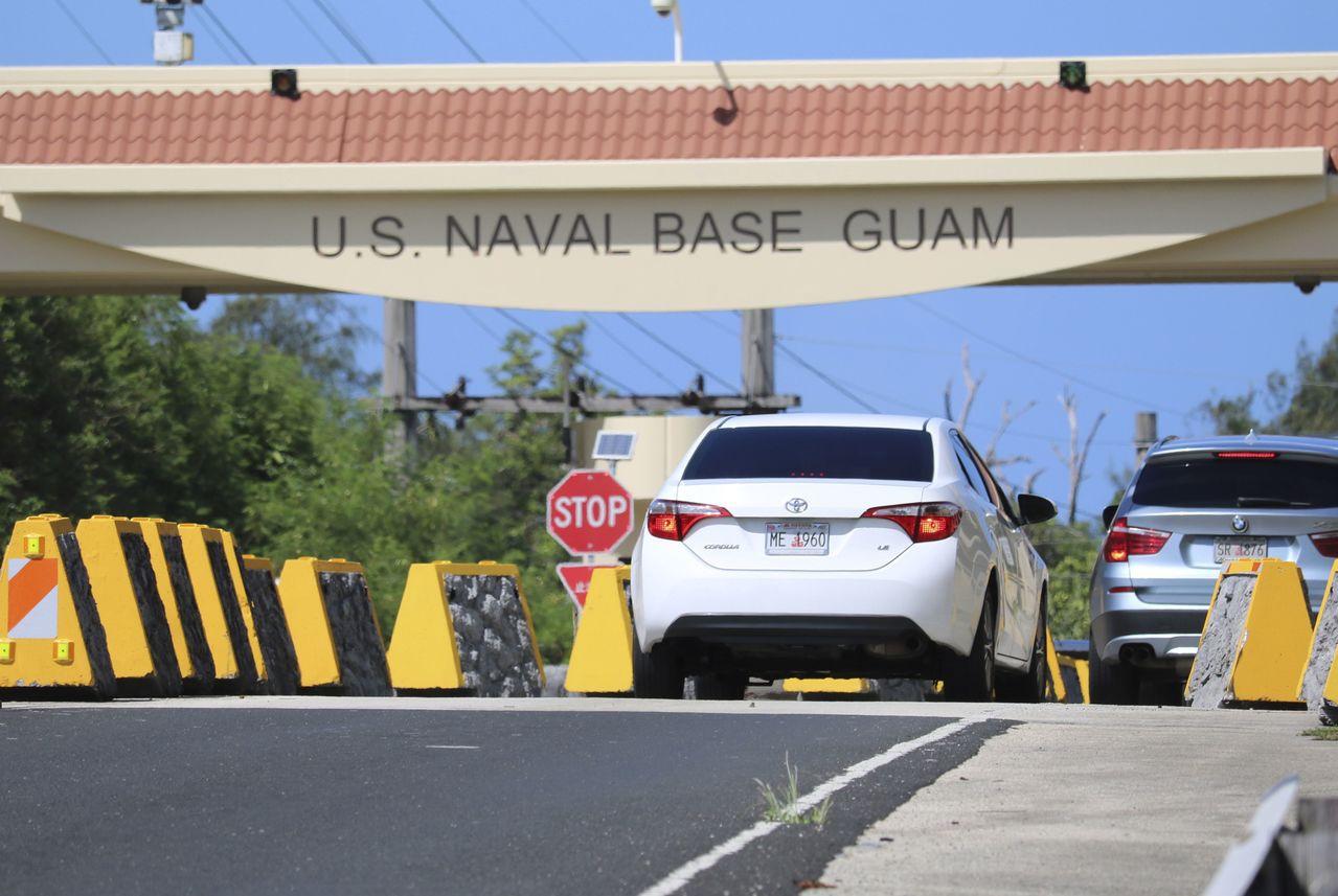 關島海軍基地大門。 美聯社