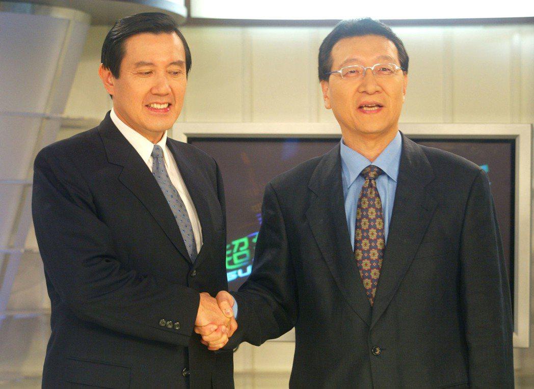 二○○五年,時任台北市長馬英九(左)昨天上趙少康節目錄影。本報資料照片