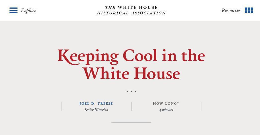 白宮歷史協會介紹白宮「冷氣史」。圖/截自白宮歷史協會網站