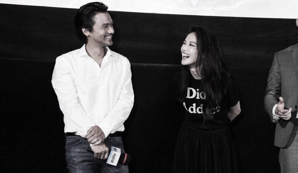 舒淇(右)與馮德倫(左)首度合體宣傳電影「俠盜聯盟」。圖/摘自臉書