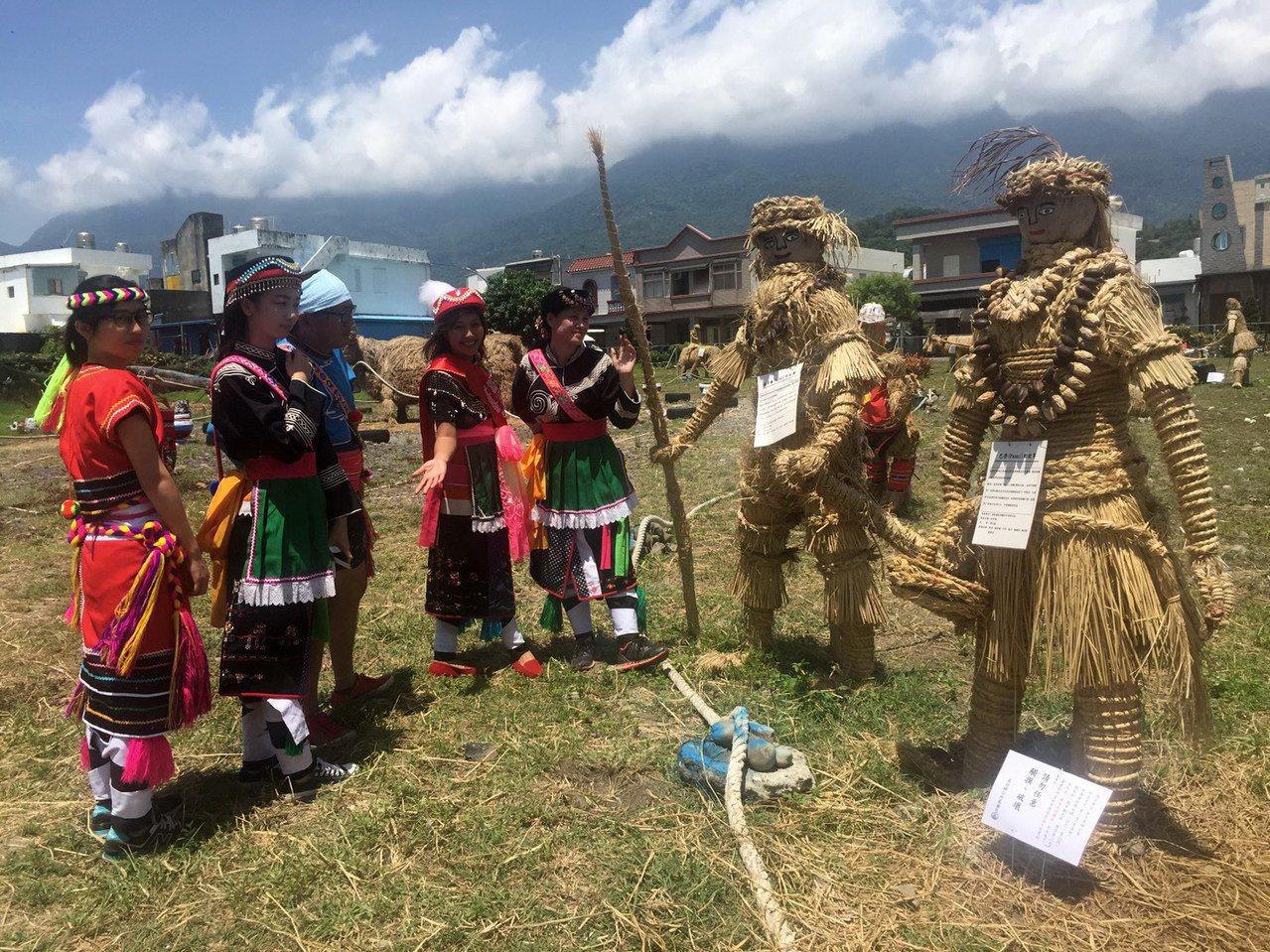 台東成功鎮稻草節在鎮公所前展現一座座阿美族部落族人手作稻草藝品,呈現經典農家社會...