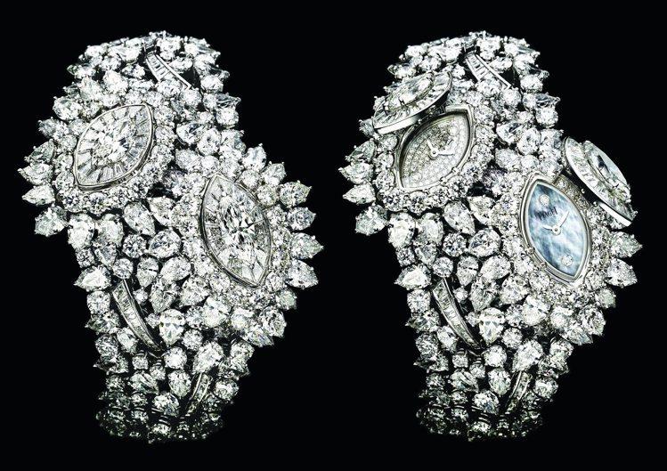 伯爵Limelight系列葉子造型頂級珠寶神秘腕表,約5,350萬元。圖/台北1...