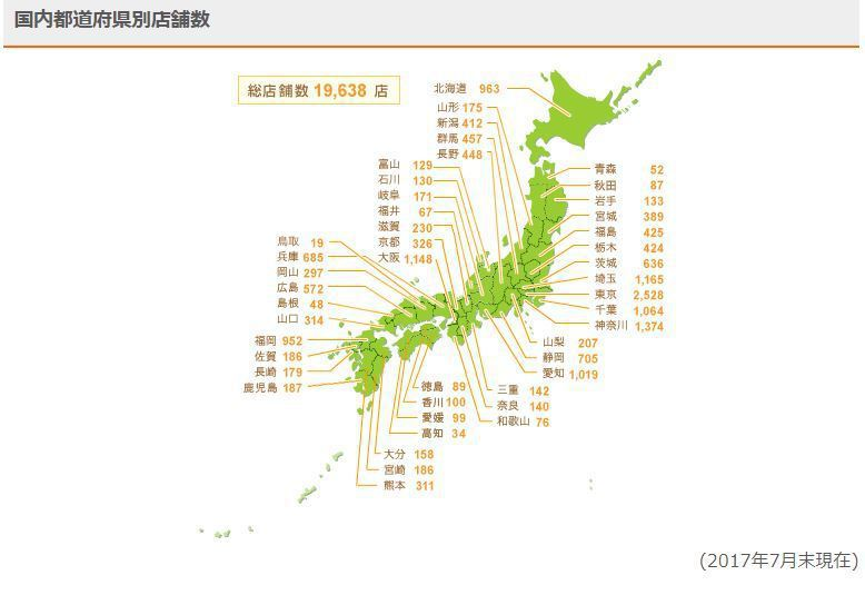 7-Eleven在日本有將近兩萬家門市。 摘自7-Eleven Japan