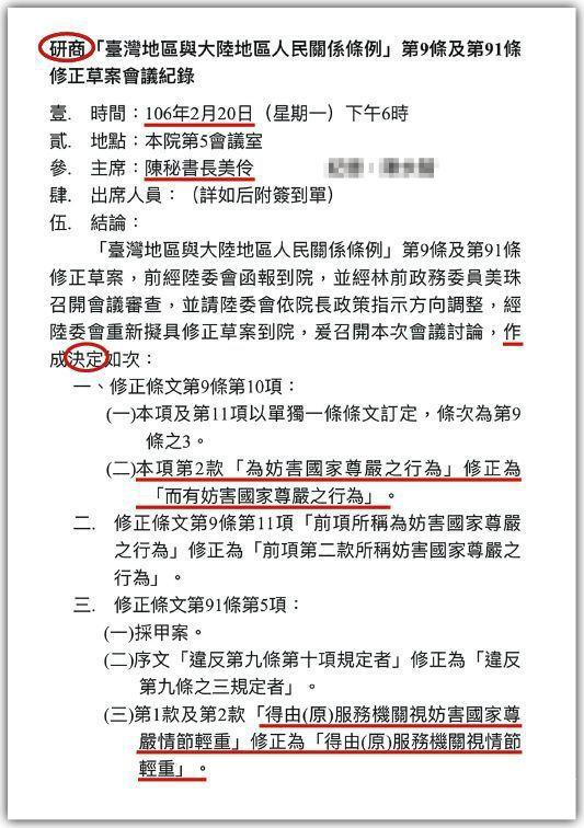 行政院秘書長陳美伶主持兩岸條例研商會議紀錄