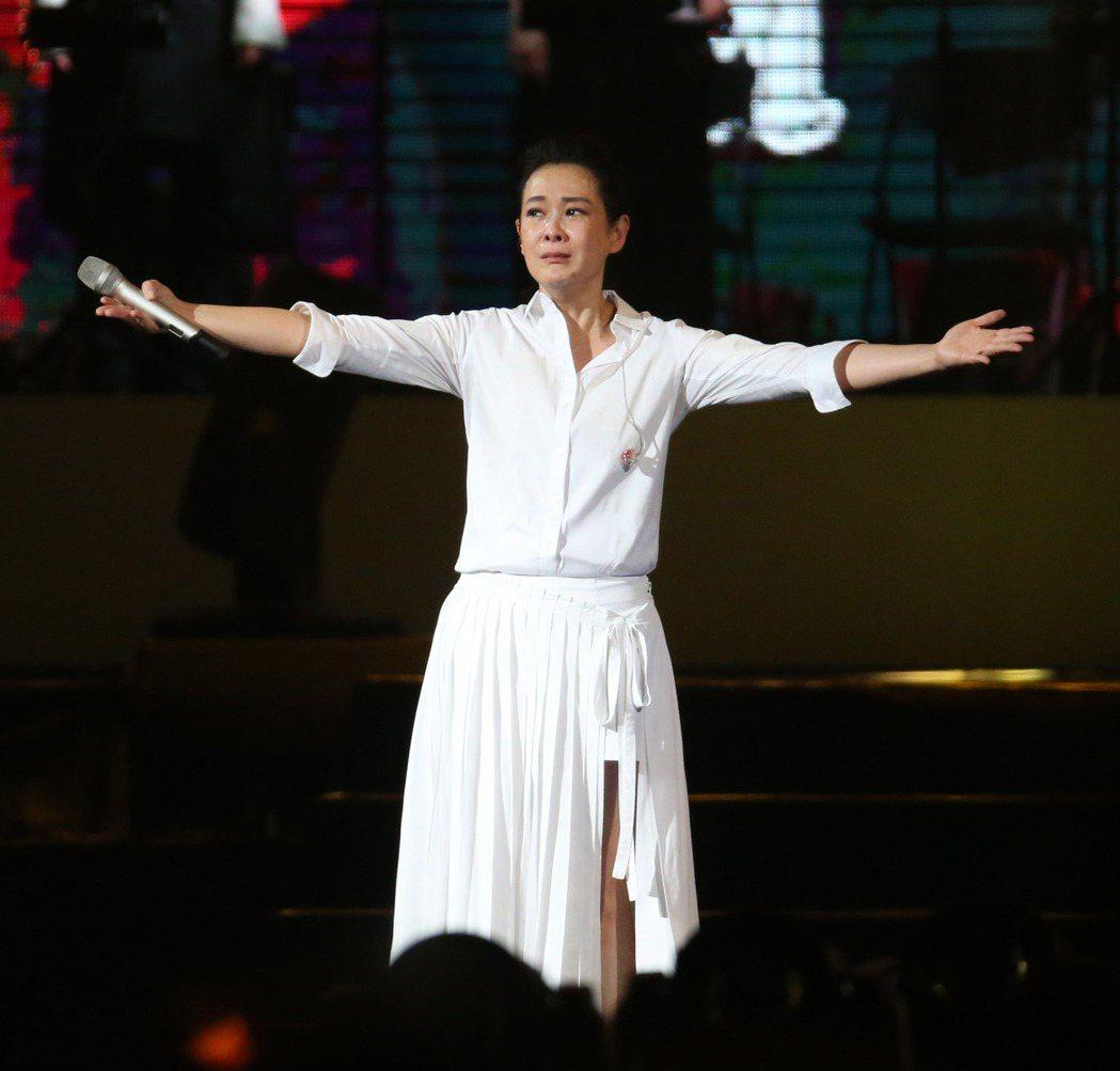 劉若英演唱會激動落淚。記者陳瑞源/攝影