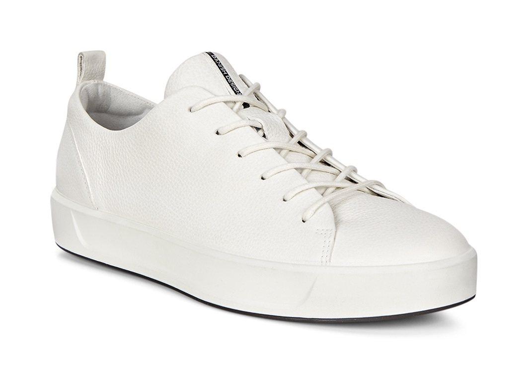 ECCO SOFT 8 白色皮革綁帶休閒女鞋,NT$5980