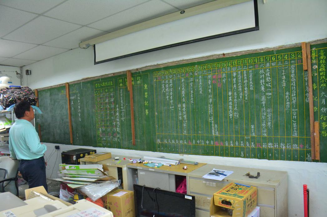 台南左鎮國小校舍即將改建,在辦公室牆上竟外發現26年前的「黑板行事曆」,引起廣大...