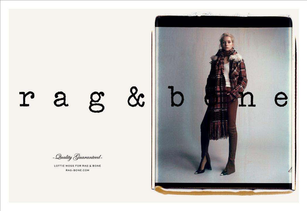 Lottie Moss在灰色系的背景中表現rag & bone秋冬裝的個性。圖/...