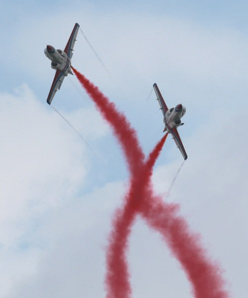 雷虎小組噴著彩煙在空中精彩特技演出。 記者劉學聖/攝影