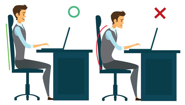 良好坐姿的訣竅是「坐好坐滿」,縮肚、收下巴並挺腰,只要腰挺起來,身體自然就正了。