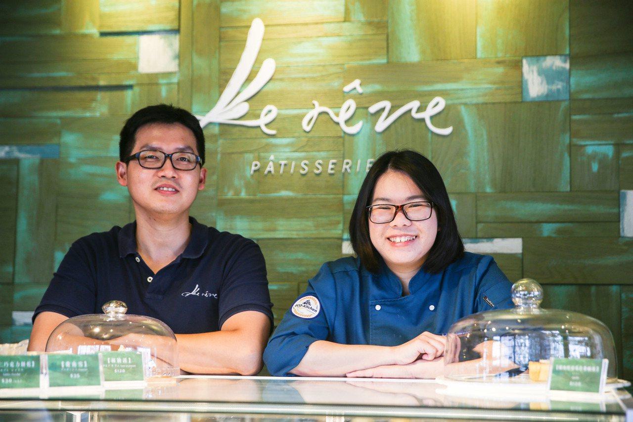 露蕾芙洋菓子店,店長巫致中(左)、甜點主廚林季曉。