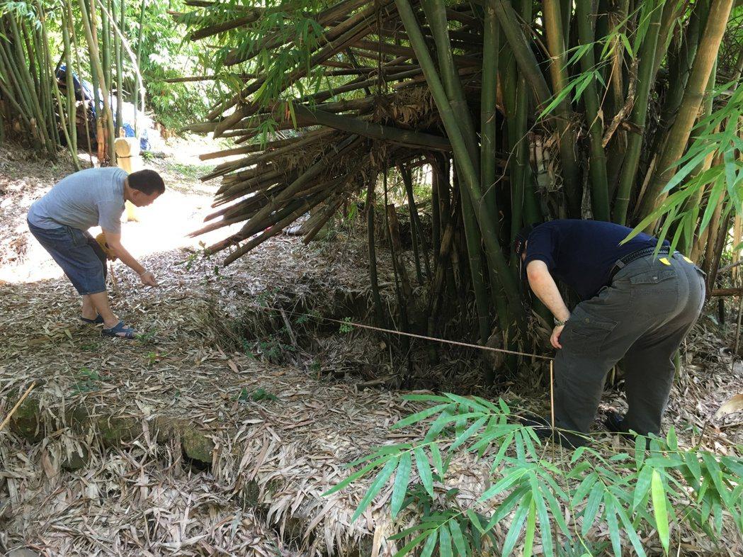 當年的烈士墳墓遭劫,剩下一處處坑洞,許多還被種了竹子。圖/汪治惠提供