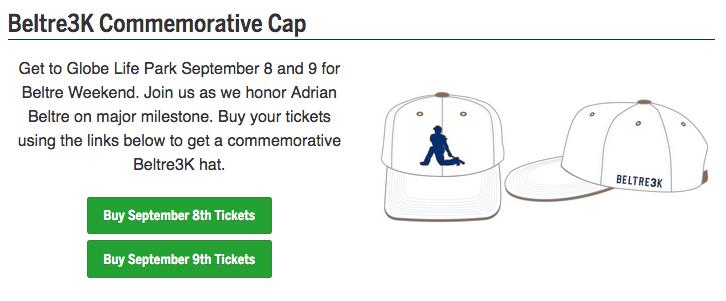 遊騎兵球團為貝爾崔推出3000安紀念球帽,球迷購買紀念套票就可獲得。圖/取自遊騎...