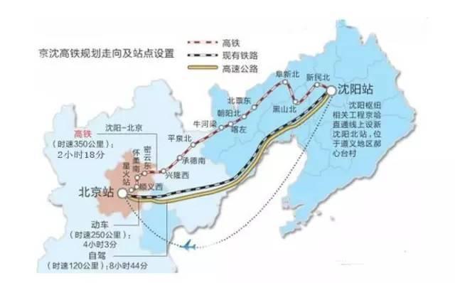 京沈高鐵起於北京鐵路樞紐星火站,全長698公里,經北京市順義區、懷柔區、密雲縣,...