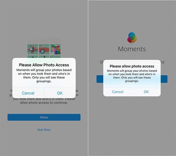 彩色氣球(左)和臉書的圖片分享應用Moments(右)提醒彈窗內容一字不差。擷取...