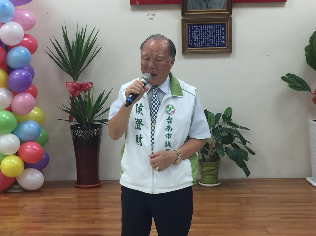 73歲的台南市議員侯澄財。記者吳政修/攝影
