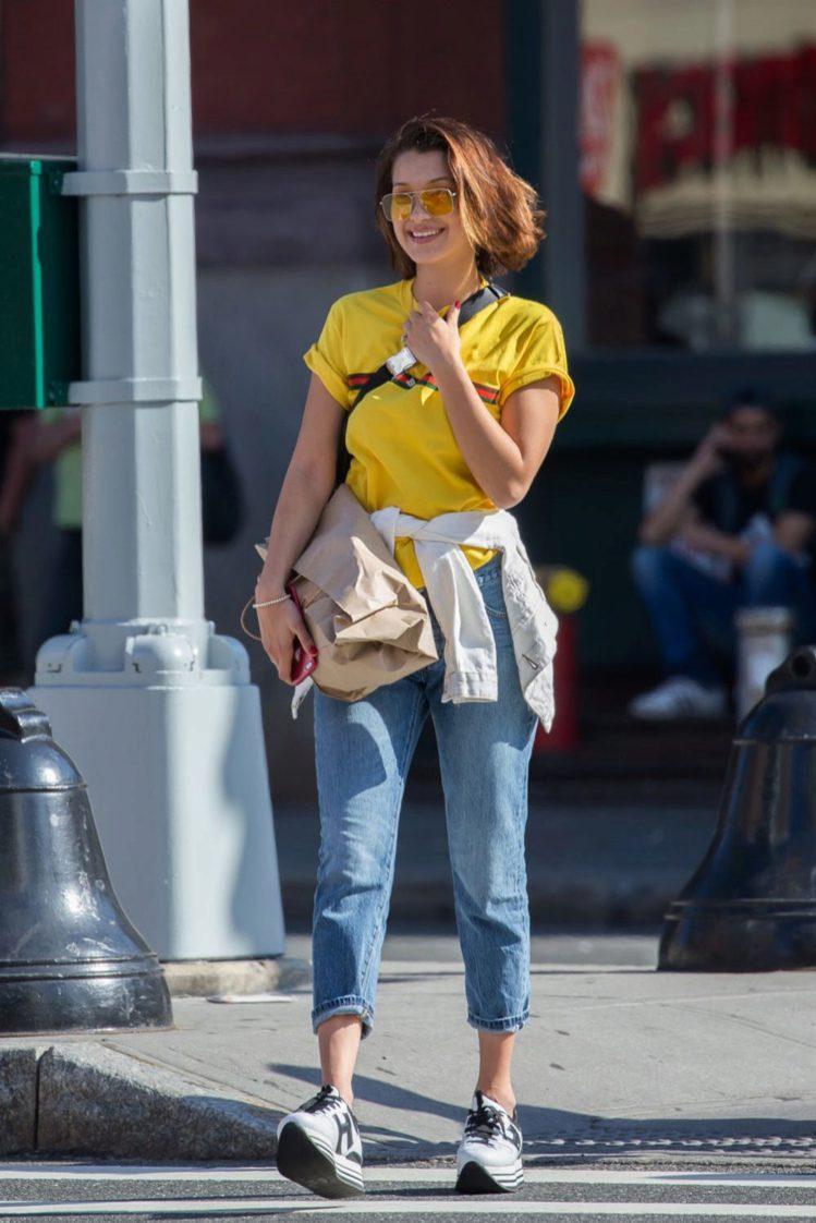 貝拉哈蒂德近日穿著HOGAN MAXI H222系列休閒鞋上街。圖/HOGAN提...