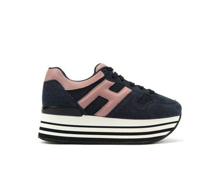 HOGAN Maxi H222異材質拼接粉色繫帶休閒鞋,21,200元。圖/HO...