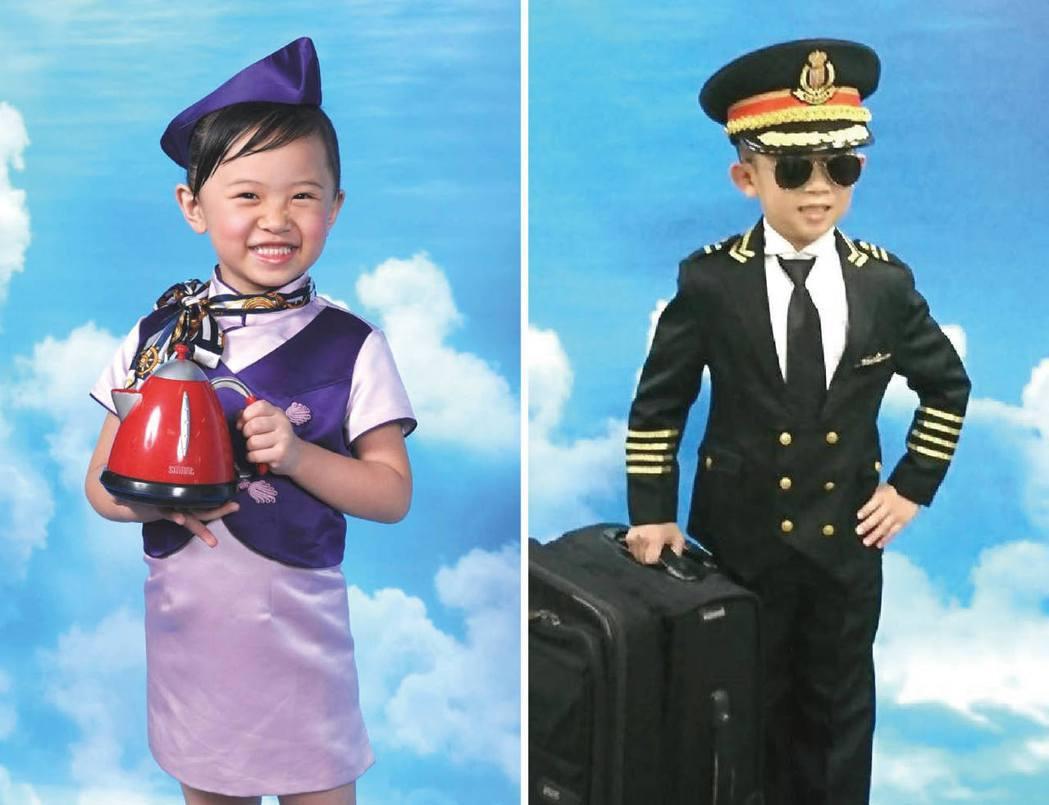 小朋友參加小小職人體驗,扮演小小空姐、機師。 圖/陳瑞斌、Yanmeme提供