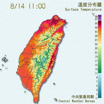台北今已出現36度以上高溫,破了氣象局成立120年的紀錄。圖/翻攝氣象局網站