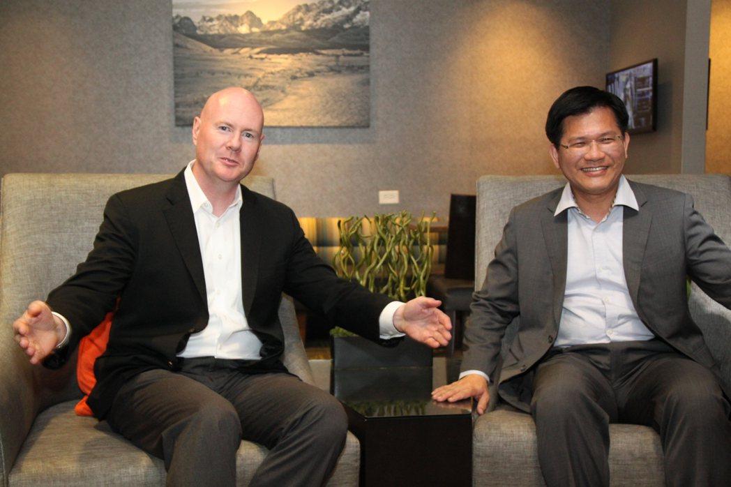 愛達荷州共和黨前主席葉望輝(左)和林佳龍見面,並為自己日前的一席話再次提出說明。...