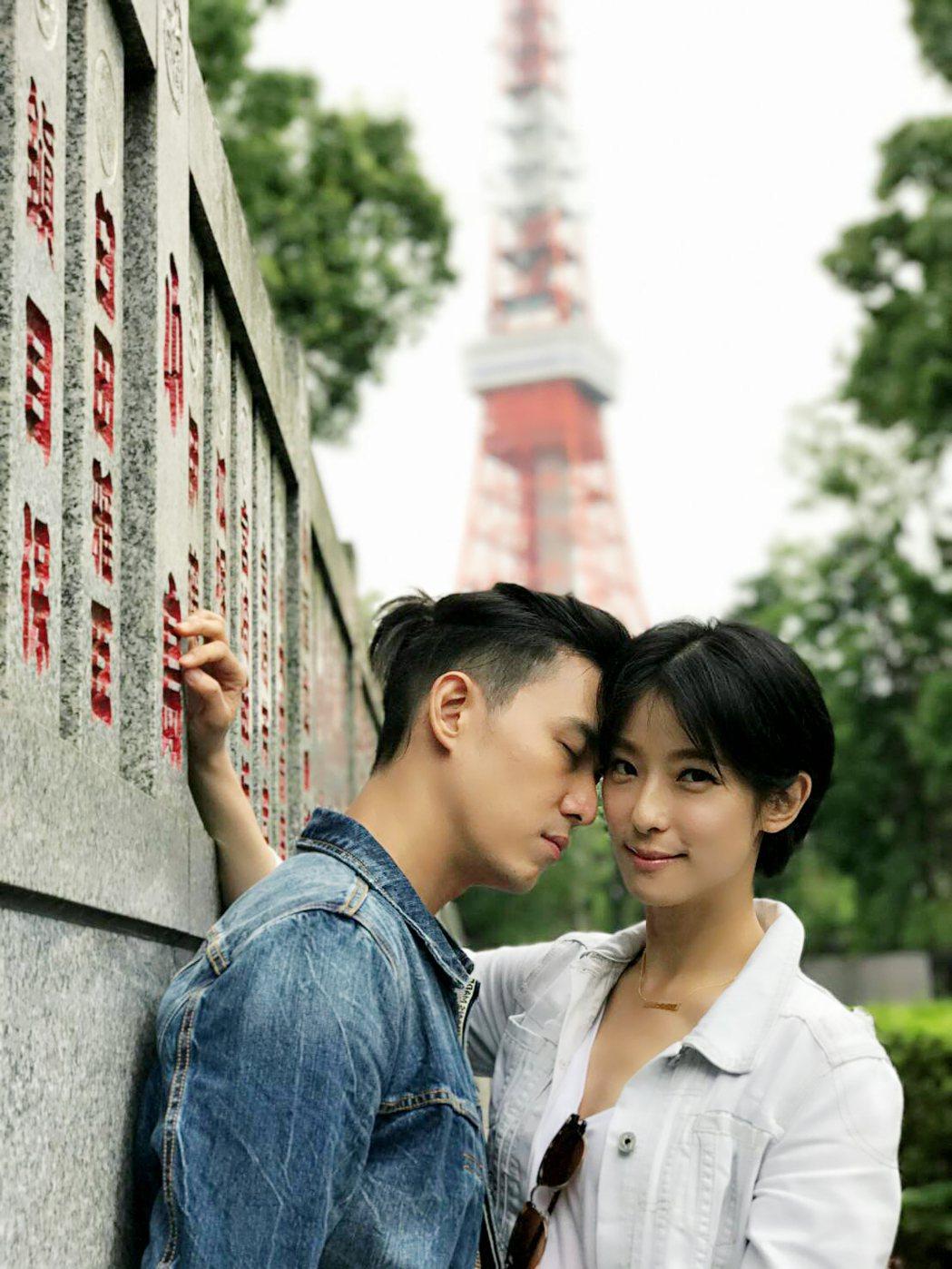 陳楚河(左)、賴雅妍在東京狂放閃。圖/三立提供