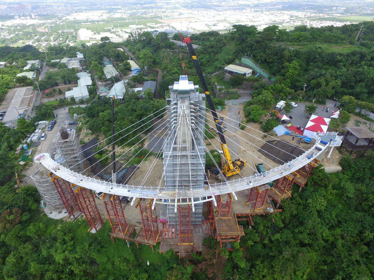 步道迴廊以偏心懸吊式打造,將鋼結構步道懸吊在半空中,遊客漫步於天空迴廊上,能體驗...