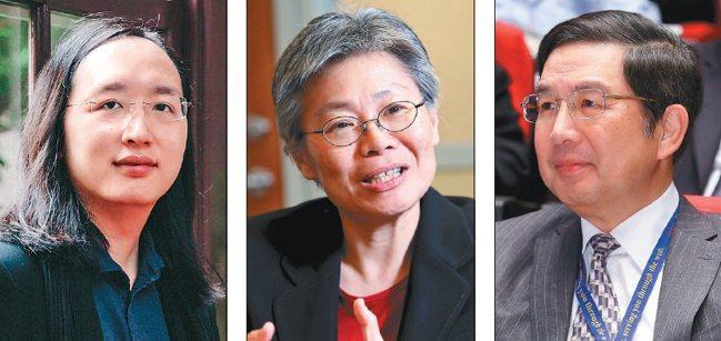 圖為政務委員唐鳳(左起)、遠傳總經理李彬、台積電資訊長左大川。