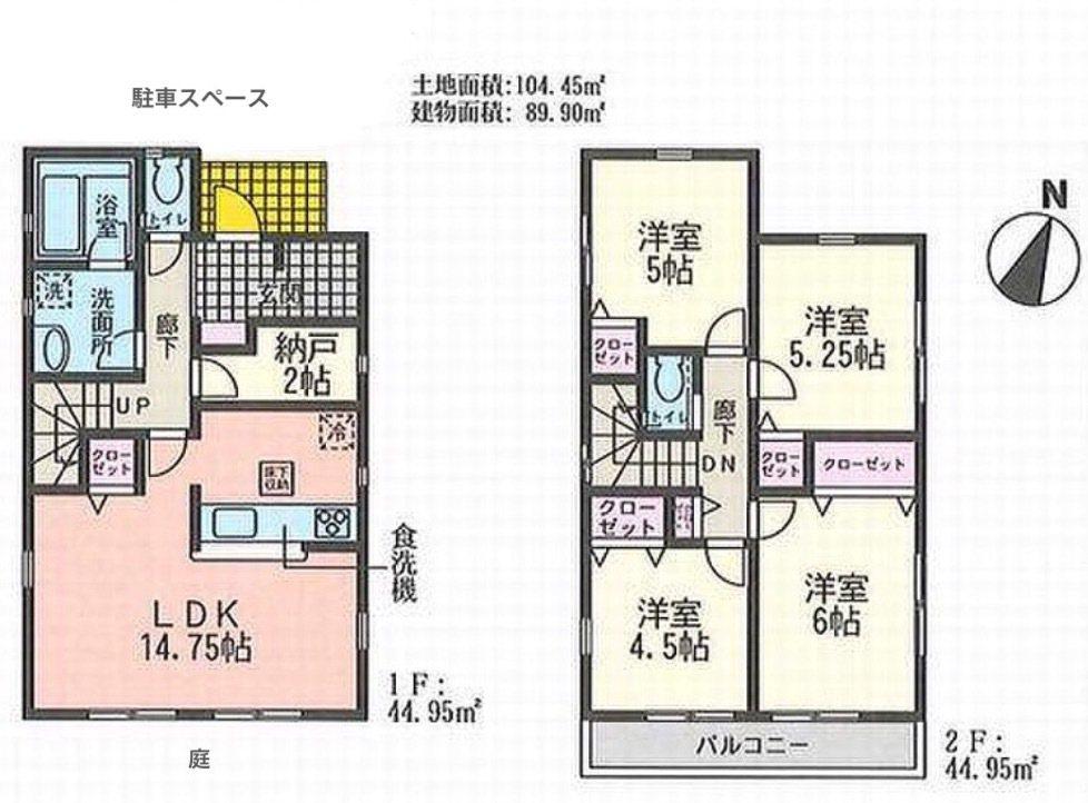 一名台灣人在東京近郊買房,1棟2層樓的獨棟新屋不到台幣800萬元。圖為房屋格局。...