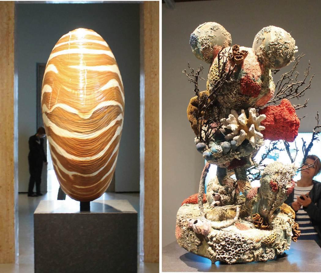 赫斯特打造的「沈船寶藏」裡,驚見神似米老鼠的銅像(右圖),以及一些不知是真假的海...