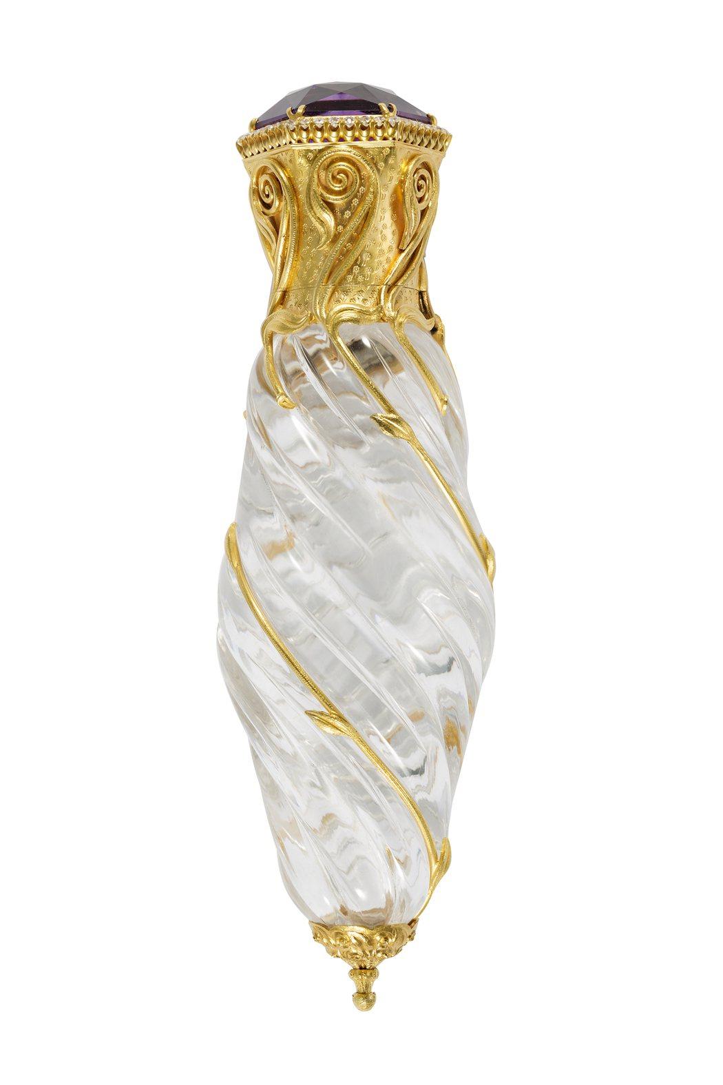 Tiffany香水瓶 (1895 – 1900)黃金、鑽石、紫水晶、水晶與軟木,...