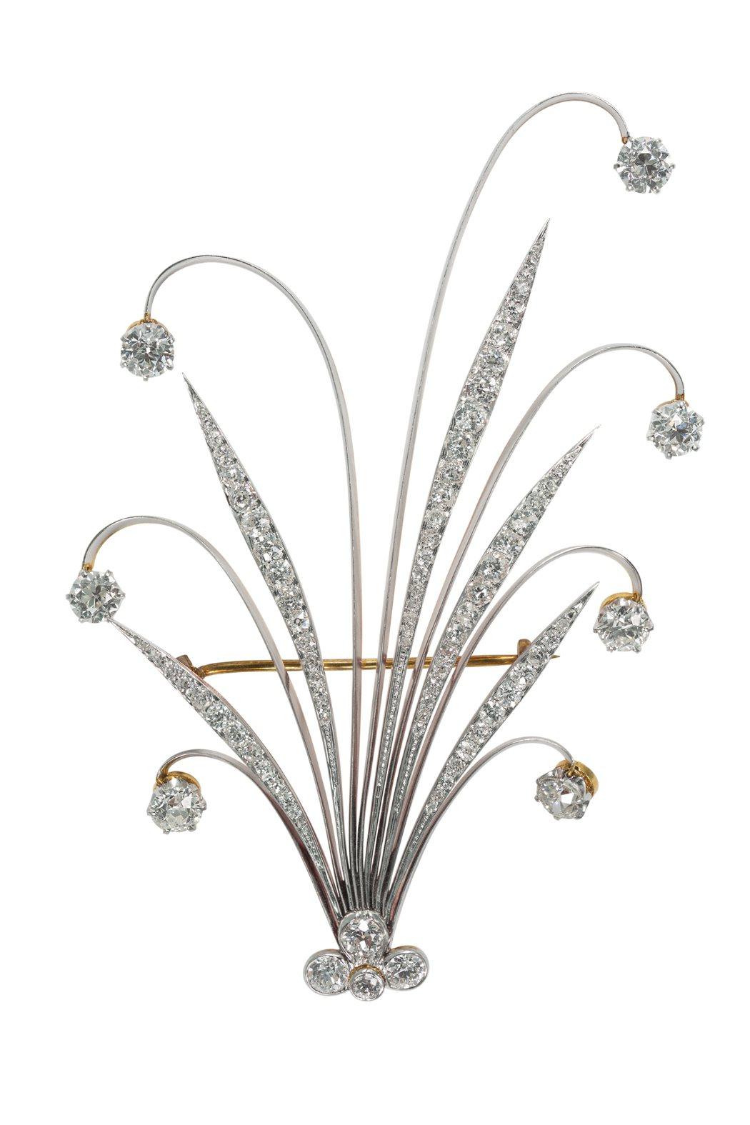 Tiffany 羽飾  (1890 - 1900),材質為黃金、鉑金與鑽石,19...