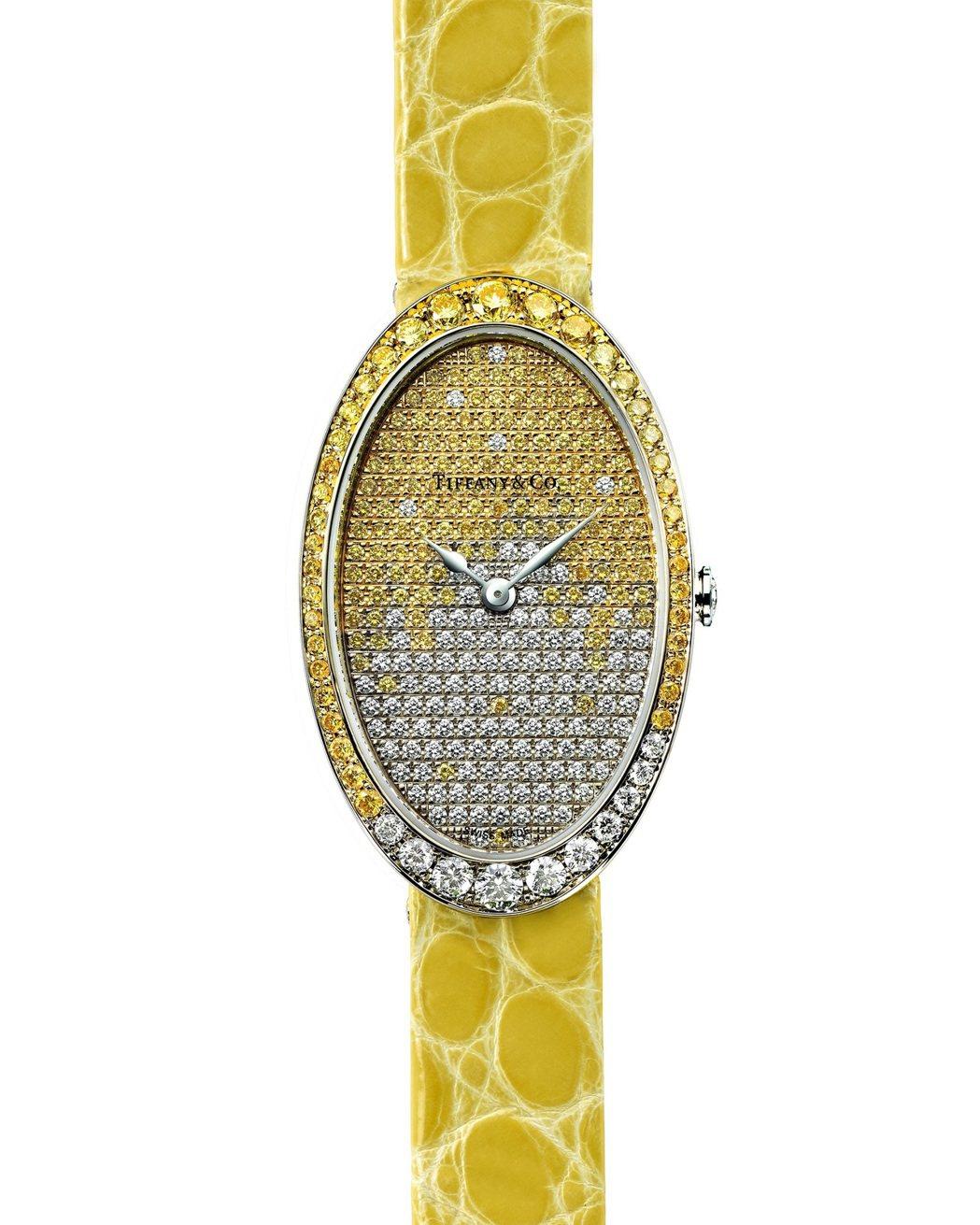 Tiffany Cocktail鋪鑲黃鑽與白鑽腕表,104萬元。圖/Tiffan...